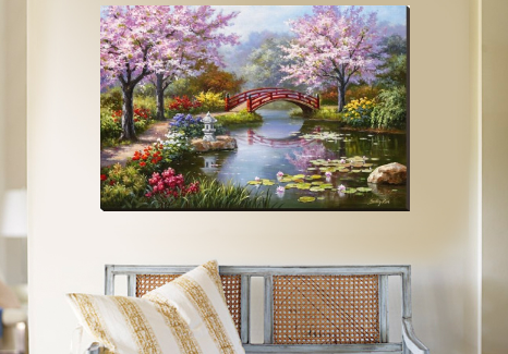 japanese garden in bloom art painting
