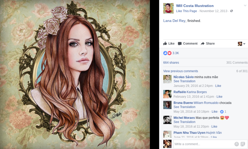 lana del rey fan art will costa