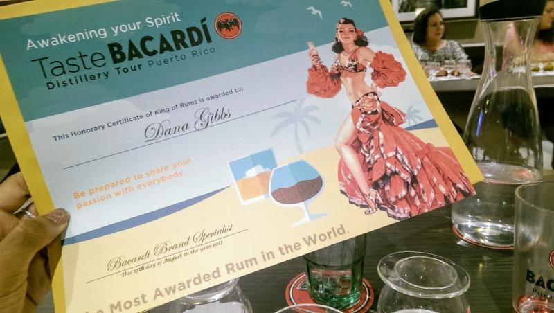 Casa Bacardi Rum Distillery Puerto Rico Certificate