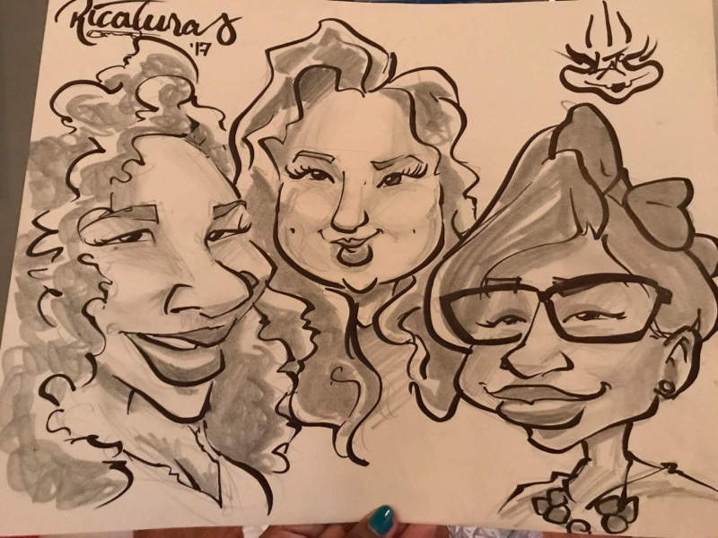 Ricaturas cartoon of Kristell, Niketa, and I during our visit to Platos!