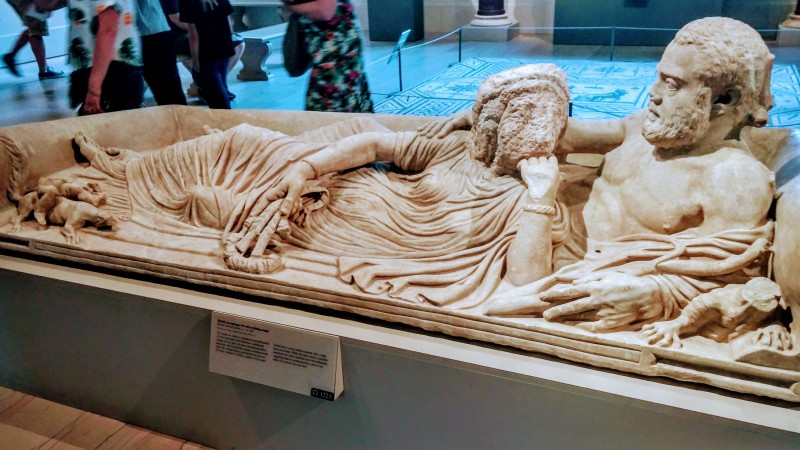 Marble sarcophagus lid with reclining couple MET museum 5th ave